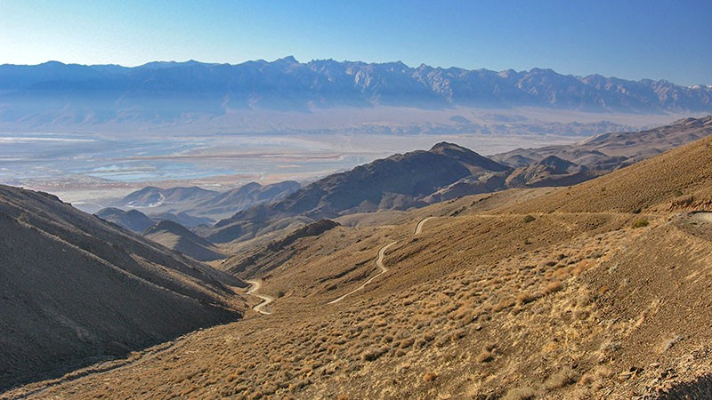 The road to Cerro Gordo offers views of the Sierras