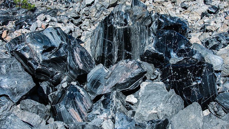 Obsidian: natural glass spewed out of Newberry Caldera