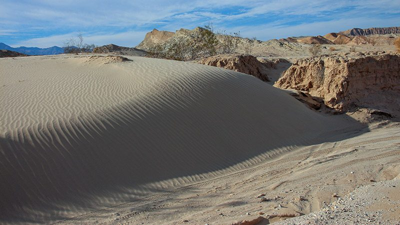 Sand dunes in the Borrego Badlands of Anza-Borrego