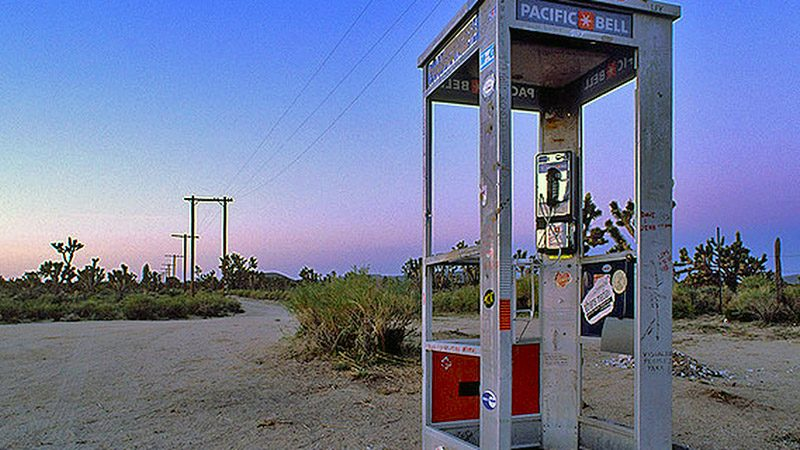 The Mojave Phone Booth along Aiken Mine Rd